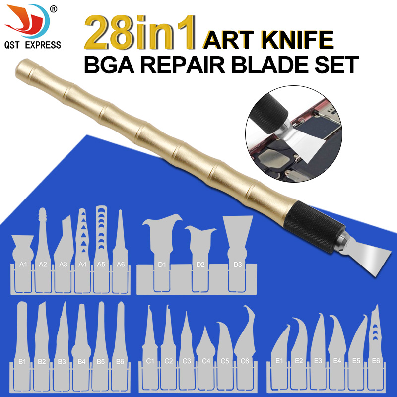Dual-Purpose Handle With 27pcs Knives Craft Cutting Knife DIY Carving Knife CPU BGA Chip Remove Tool Pry Knife For Mobil