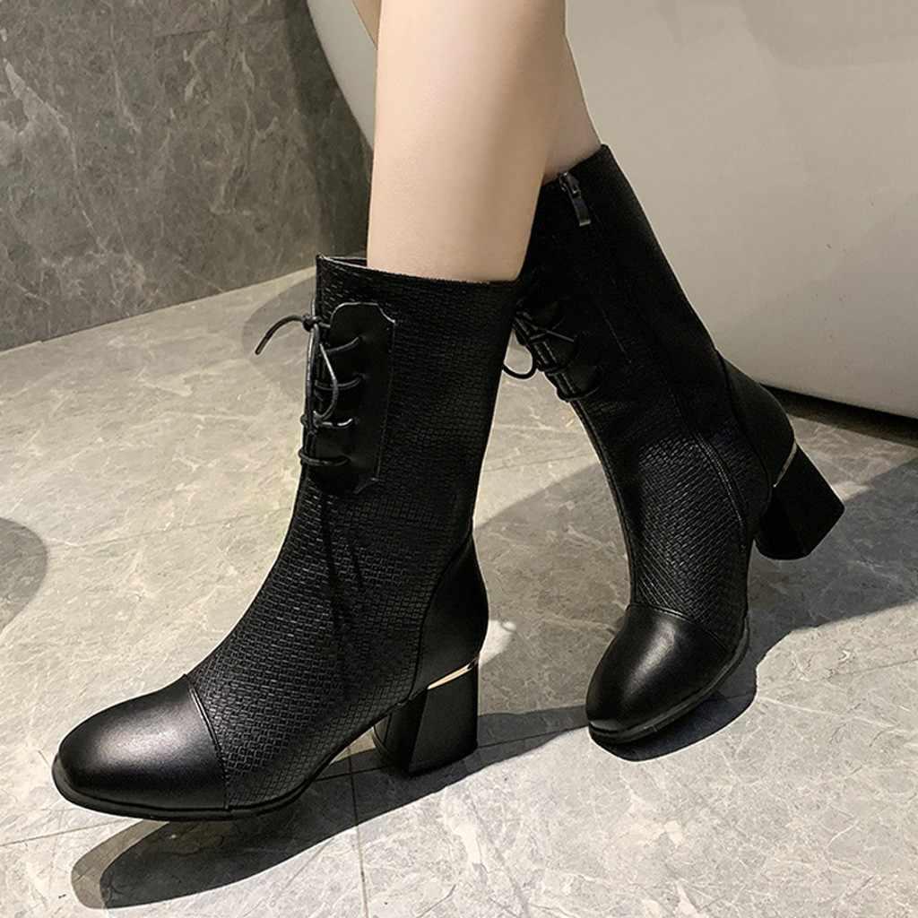 Thời Trang Nữ Nơ Gót Vuông Dây Kéo Giữa Giày Đồng Màu Mũi Tròn Giày Người Phụ Nữ Trung Da Bò Thật Phong Cách Châu Âu mùa Đông Giày