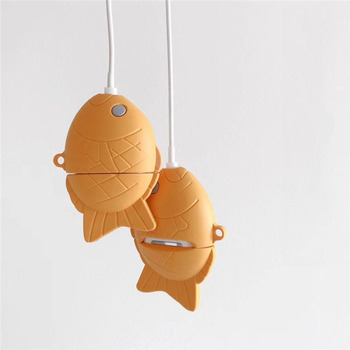 For AirPod 2 Case 3D Fish Cartoon Soft Silicone Wireless Bluetooth Earphone Cases For Apple Airpods Case Cute Cover Funda for airpods pro case 3d little bear cartoon soft silicone wireless earphone cases for apple airpod 3 case cute cover funda