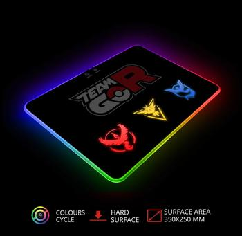 Pokemon Go Gaming Mouse Pad With RGB LED Atmosphere Light Hard Surface / For Gamer Gifts  Mousepad Mice Mat 7 Dazzle Colors 1