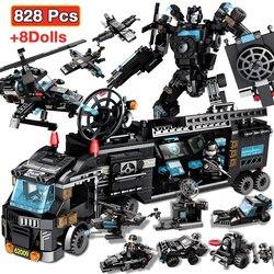 Blocos de construção robô cidade polícia brinquedos para meninos designer veículo aeronaves blocos de caminhão educacional compatível ed armas