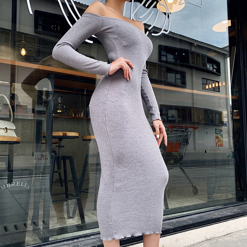 Off Shoulder Ribbed Knitted Long Sleeve Bodycon Midi Dress 5