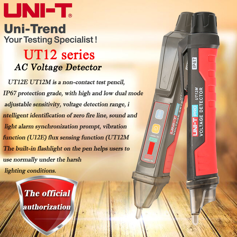 UNI-T UT12E/UT12M/UT12D Non-contact AC Voltage Detector; High And Low Dual Mode Adjustable Sensitive Smart Test Pencil 24V-1000V