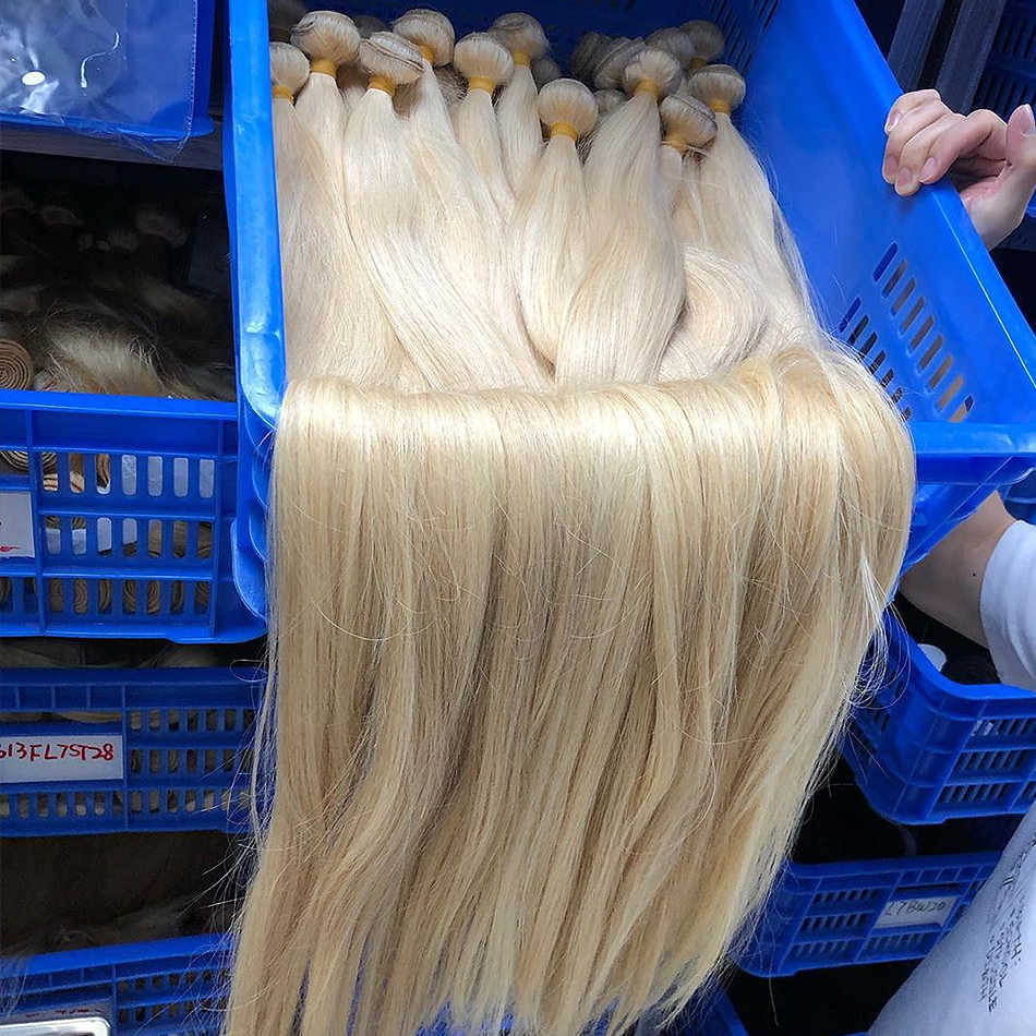 Luvin prosto 28 30 32 34 40 Cal brazylijski Remy włosy 613 blond 1 3 4 zestawy długi ludzkie włosy splot wiązki darmowa wysyłka