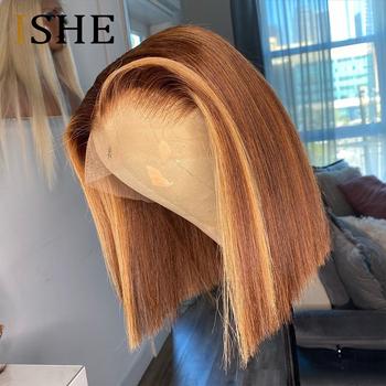 Ombre koronkowa peruka na przód wyróżnij kolorowe peruki z ludzkich włosów peruki z krótkim bobem 13 #215 6 koronkowa peruka z ludzkich włosów peruki prosto remy włosy 150 tanie i dobre opinie ISHE Proste Koronki przodu peruk Ludzki włos Pół maszyny wykonane i pół ręcznie wiązanej Ciemniejszy kolor tylko
