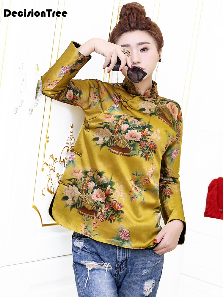 2019 Traditional Chinese Blouse Qipao Top Flower Printing Cheongsam Shirt Long Sleeve Chinese Traditional Top Blouse For Women