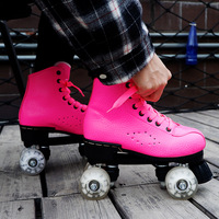Flash Wheel Roller Skates Double Line Skates Women Female Adult With LED Lighting PU 4 Wheels Two line Skating Shoes Patines