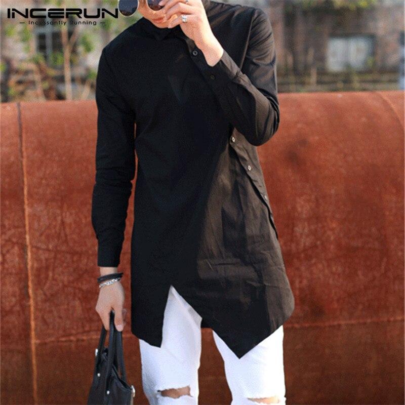 INCERUN Fashion Men Irregular Shirts Solid Color Lapel Long Sleeve Button Dress Shirts Slim Long Tops 2020 Camisa Plus Size 5XL