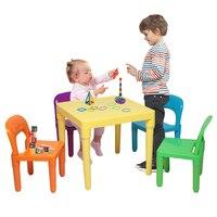 5 قطعة/المجموعة الأطفال مجموعة مقاعد الطاولة 1 قطعة الجدول + 4 قطعة كرسي الأطفال الجداول طاولة طعام منضدة كتابة مجموعات أثاث على