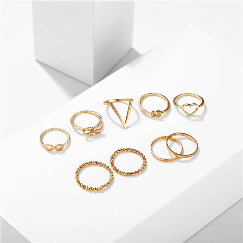 3pcs Rings Set For Women Love Bowknot Heart Shaped Ring Jewelry Female Gold Silver Color Ring Set anillos mujer accesorios