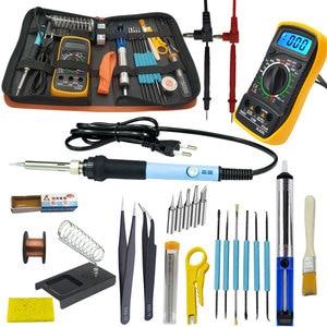 Image 4 - Kit de soldadura eléctrico de hierro de 60W con multímetro para electrónica juego de pistola para soldar temperatura ajustable 110V 220V kit de herramientas