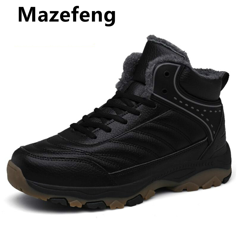 Mazefeng Men Winter Snow Boot Warm Super Man High Quality Waterproof Leather Sneakers Outdoor Male Hiking Boots Work Shoes 39-48