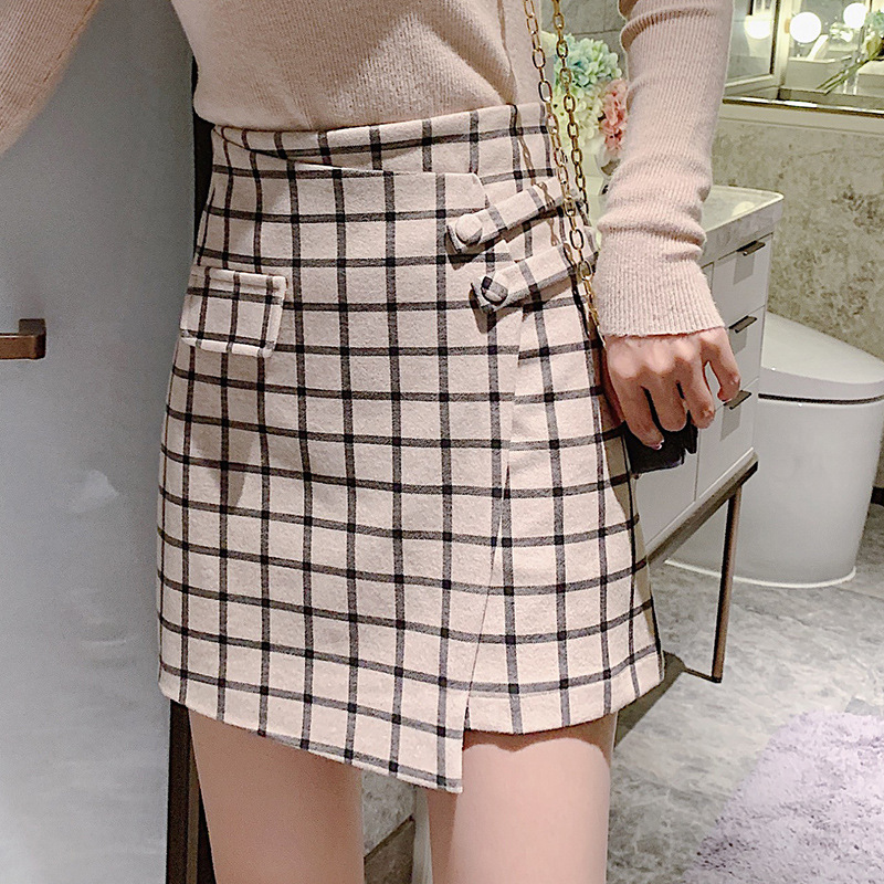 2019 Autumn And Winter New Style Korean-style High-waisted Slimming Sweet Versatile Woolen Plaid Skirt
