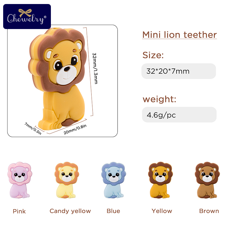 5PC Baby Teether Rodents Cute Lion Silicone Beads Baby Toys DIY Pacifier Chain Necklaces Pendant Bite Chew For Children Products