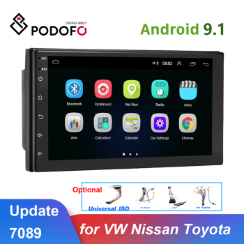Podofo Universal Android 9.1 2din Car Radio GPS Multimedia MP5 Player Car Auto Stereo Radio 2 din for VW Nissan Hyundai Toyota