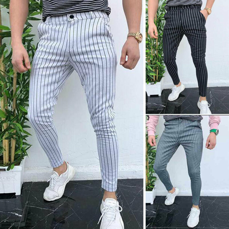 2019 New Men's Gym Business Slim Fit Trousers Striped Tracksuit High Waist Bottoms Skinny Joggers Sweat Track Pants