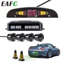 Samochód czujnik parkowania LED z 4 czujnikami rewers Backup Parking System detektora radaru monitorującego podświetlenie wyświetlacza