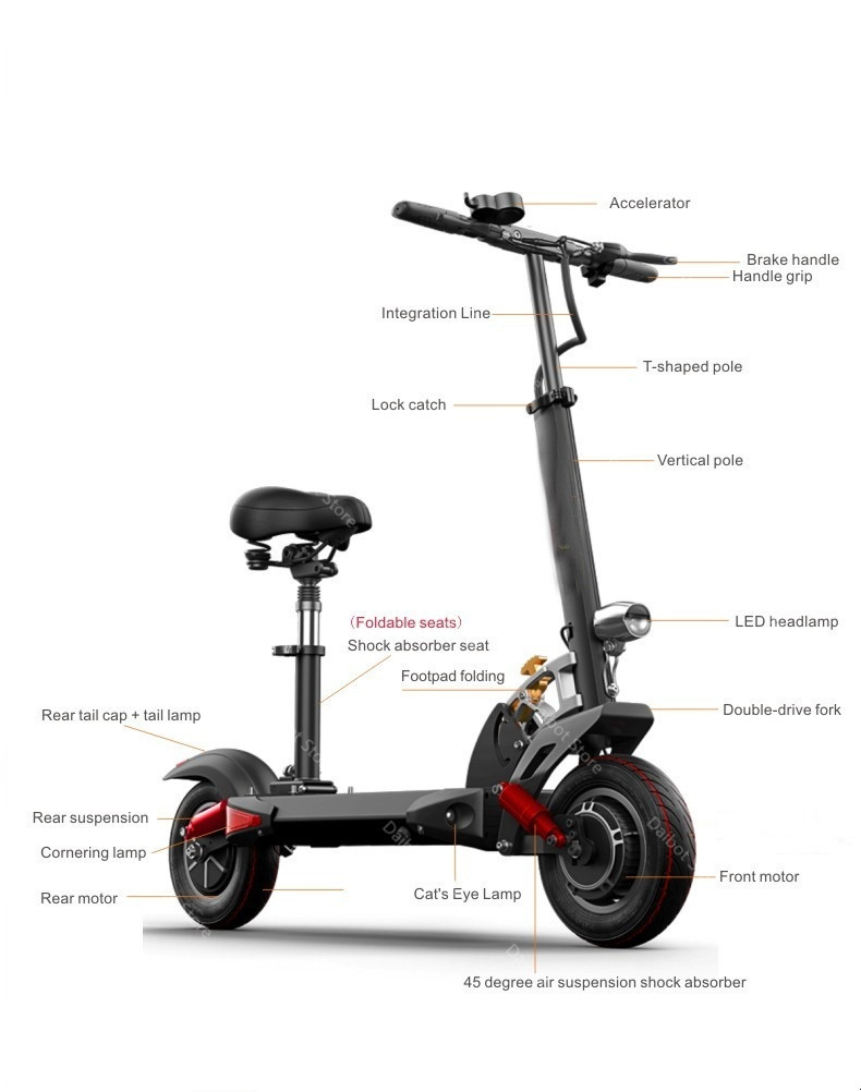 1200W 60V Electric Scooters Adults Two Wheels Electric Scooters High Speed 60KMH Folding Powerful Electric Bike With Seat (34)