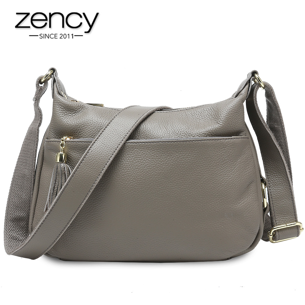 Zency 100% Genuine Leather Fashion Women Shoulder Bag With Tassel High Quality Hobos Elegant Lady Crossbody Bags Black Grey
