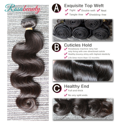 Melodie-extension de cheveux brésiliens Remy naturels, Body Wave, couleur naturelle, 8-28 30 pouces, 1 lot