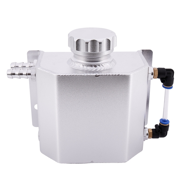 Universal 1L Aluminum Auto Radiator Coolant Expansion Alloy Tank With Drain Plug 1000Ml