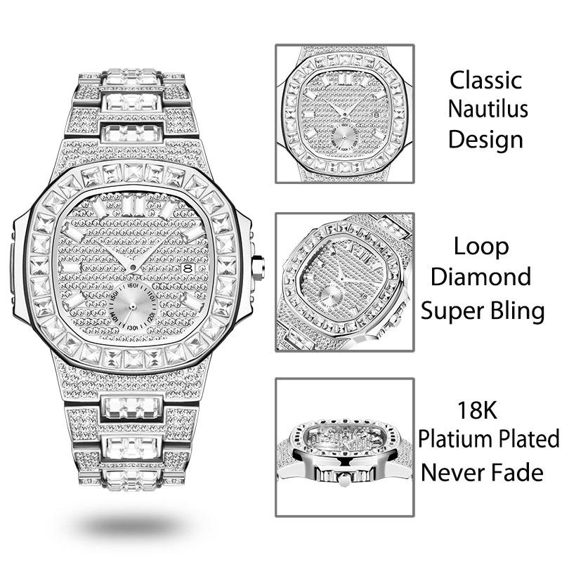 relógio masculino patek cheio pavimentado diamante nautilus
