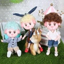 1/12 bjd 26 siamese 15cm mini boneca nova porco sorte ob11 boneca com equipamentos sapatos conjunto de maquiagem presente brinquedo