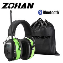ZOHAN Bluetooth Earmuffs FM/AM Radio Hearing Protection Headset NRR25dB Noise Reduction Ear Muffs 2000mAh Rechargeable Battery