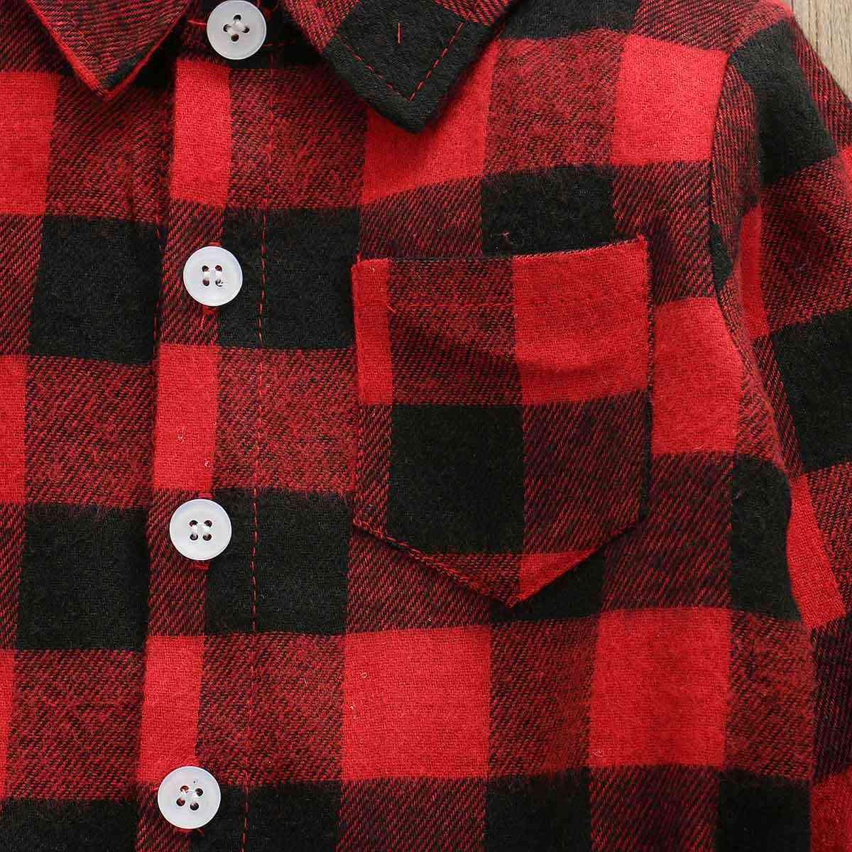 ファッションクリスマス幼児長袖ベビー少年少女のバック文字のプリントチェック柄ブラウスは秋の冬のコート 1-6T