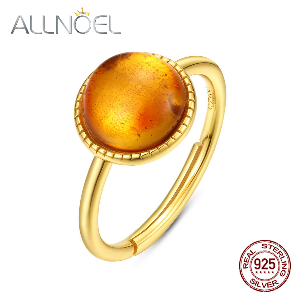 ALLNOEL Solid 925 Sterling Silver Rings For Women Newly Fashion Elegant Natural Amber Adjustable Fine Jewelry Christmas Gift New