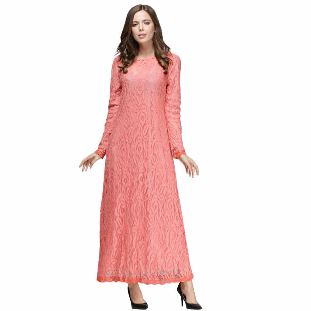 KLV 이슬람 의류 여성 긴 소매 벨벳 레이스 두바이 드레스 맥시 Abaya Jalabiya 이슬람 여성 의류 가운 Kaftan 모로코