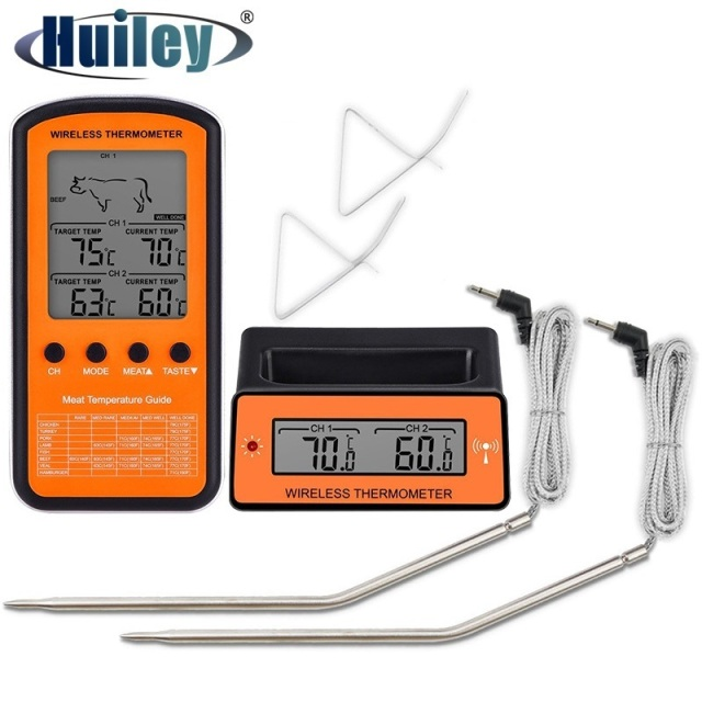 Wireless Remote BBQ Thermometer Dual Probe Digital Cooking Meat Food Oven Thermometer  Grilling Smoker Barbecue Cooking Kitchen
