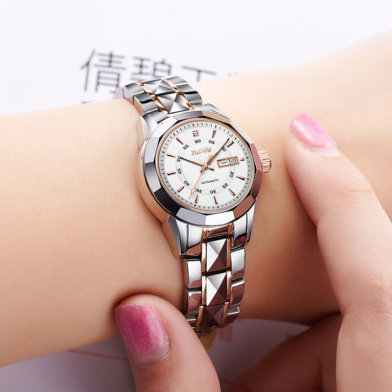 JSDUN Luxury Tungsten Steel Mechanical Watch Waterproof Double Calendar Ladies Watches Automatic Female Gift Package
