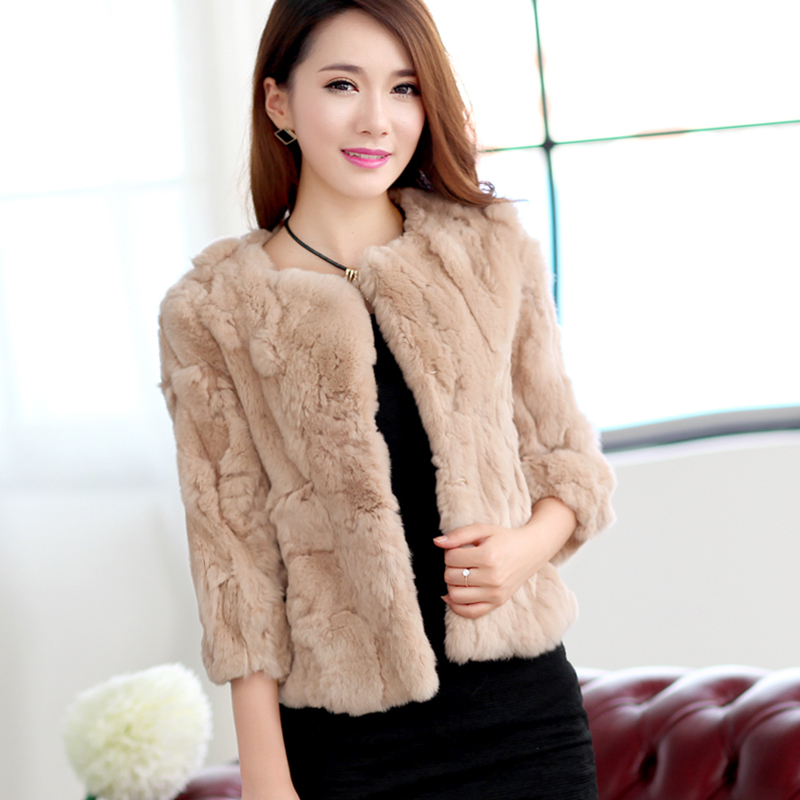 Genuine Women 2020 Rabbit Fur Coats Solid Female O-Neck Natural Rex Rabbit Fur Jacket Short Winter Real Fur Coat 15C315