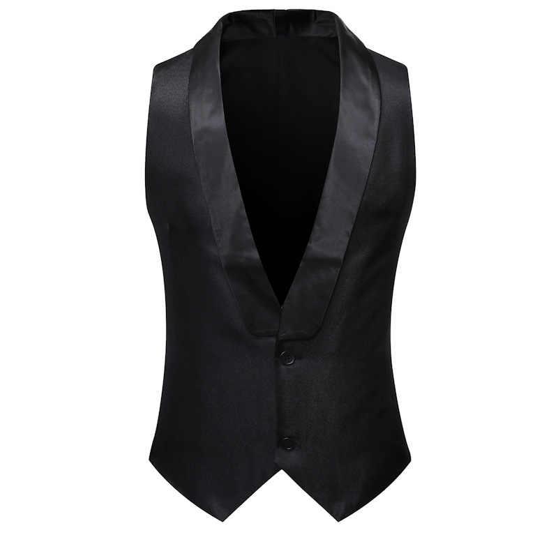 白ショール襟スーツのベストの男性 2019 ブランド新スリムフィットノースリーブベストチョッキ男性パーティー結婚式タキシードジレ衣装オム