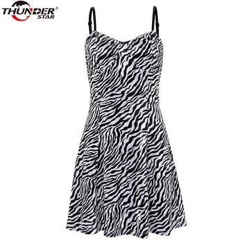 Spaghetti Straps Dress Women Zebra Pattern Print A-line high Waist Party Club Dress 2020 Summer Sexy Streetwear Dresses 3