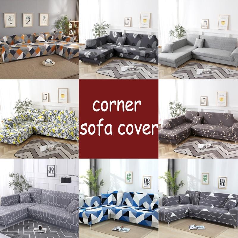 L Shape Sofa Covers Spandex For Living Room Gray Slipcover Stretch Sofa Chair Cover Corner Sofa Couch Cover Elastic Funda Sofa