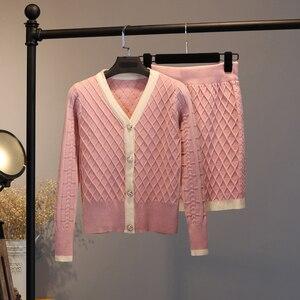 Image 4 - 2020 Knitted Two Piece Set Women Elegant Sweater Cardigan + Mini bodycon Skirt Set Suit Matching Sets ensemble femme 2 piece set