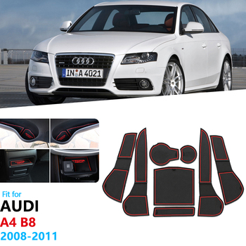 For Audi A4 B8 2008 2009 2010 2011 A4 8K RS4 S4 S line RS Anti-Slip Rubber Gate Slot Cup Mat Coaster Accessories Car Stickers