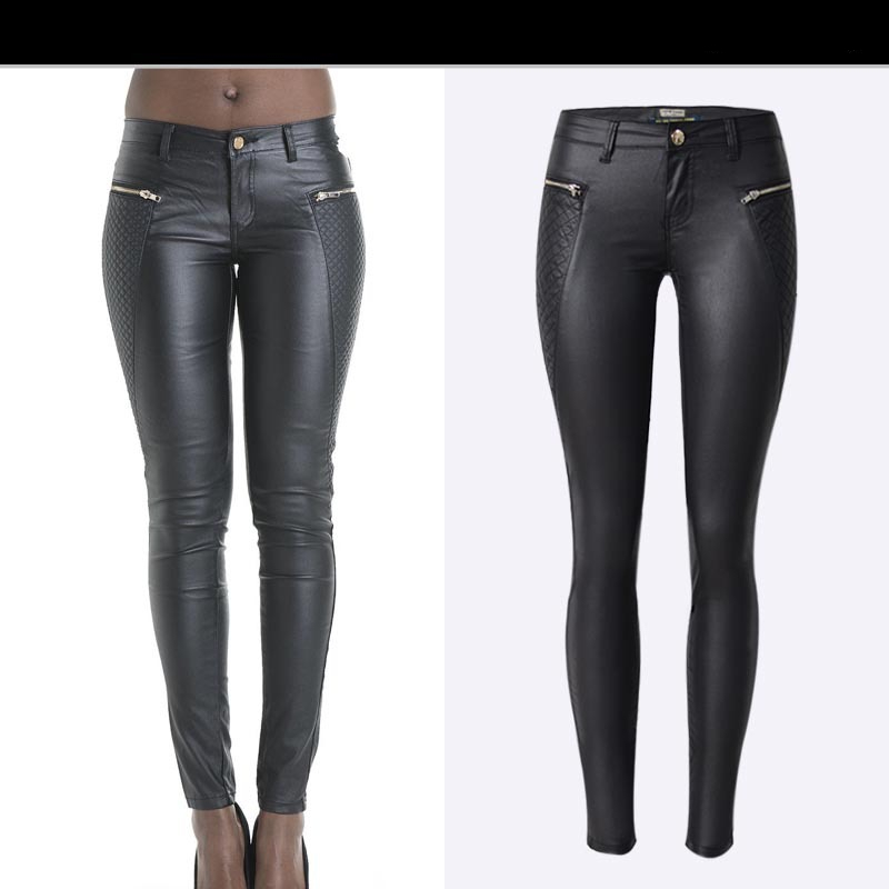 Autumn And Winter Popular Black Low Waist Coating Large Size Jeans Women Fashion PU Imitation Leather Pants Jeans Female K178