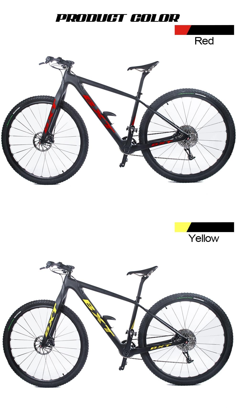 "H352a0df9dd9d4f9886537eb2c9dc1735X BXT 29inch carbon fiber Mountain bike 1*11 Speed Double Disc Brake 29"" MTB Men bicycle 29er wheel S/M/L frame complete bike"