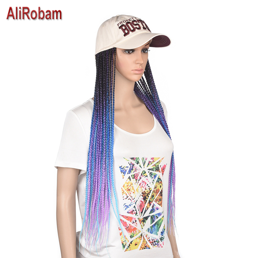 Long Synthetic Baseball Cap Wig 24inch Synthetic Braided Box Braids Wigs For Afro Black Women Daily Wear