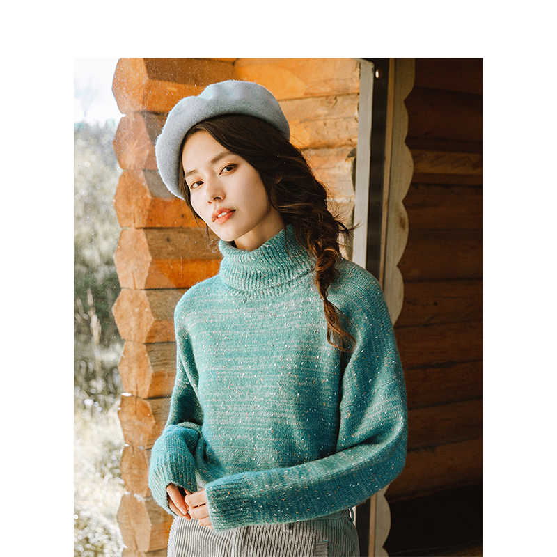 INMAN Autumn New High Collar Silver Line Loose Falling Shoulder Long Sleeve Pullover Sweater Female