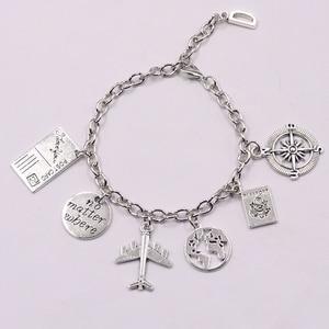 1Pcs Earth Airplane Bracelet No Matter Where Pendant Travel Bracelet Friendship Best Friend Jewelry Diy Handmade