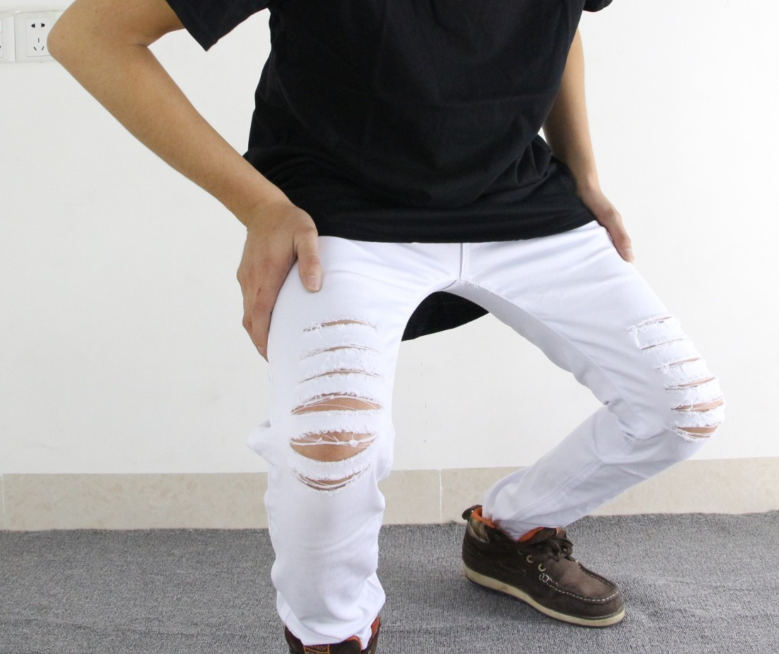 Casual Ripped Red White Men's Jeans Skinny New Brand Jeans Denim Destroyed Stretch Jeans Male Pants Slim Men's Trousers