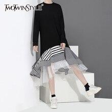 TWOTWINSTYLE كشكش خليط شبكة فستان مخطط للنساء س الرقبة طويلة الأكمام عالية الخصر الكورية فساتين الإناث 2019 الخريف جديد