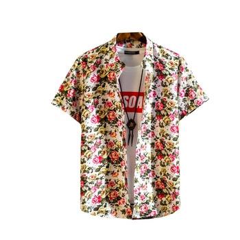 цена на M-5XL New floral Shirt Arrivals Casual Print Brand Men Short Sleeve Button Tops Loose Fashion Men Beach Hawaiian tourism Shirt