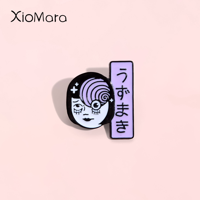 Horrific Picasso Style Pin Vortex Uzumaki Junji Ito Tomie Horror Goru Eyeball Manga Anime Japan Japanese Comics Enamel Pin Badge(China)