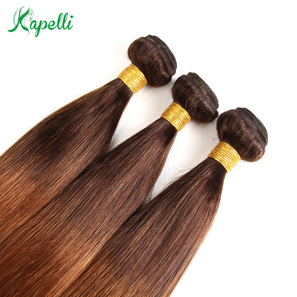 Ombre Bundles With Closure Brazilian Straight Hair Bundles With Closure Two Tone Ombre 3 Bundles With Closure Human Hair NonRemy in 3 4 Bundles with Closure from Hair Extensions Wigs