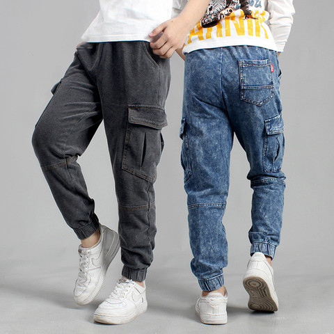calcas das criancas 2020 primavera nova alta qualidade algodao calcas de brim de trico das